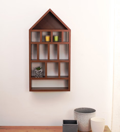 Crystal Furnitech Neptune Brown Engineered Wood Wall Shelf