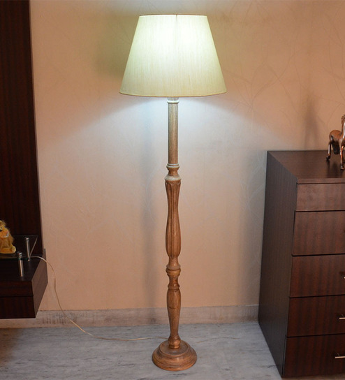Craftter Tusser Silk Light Yellow Wooden Floor Lamp