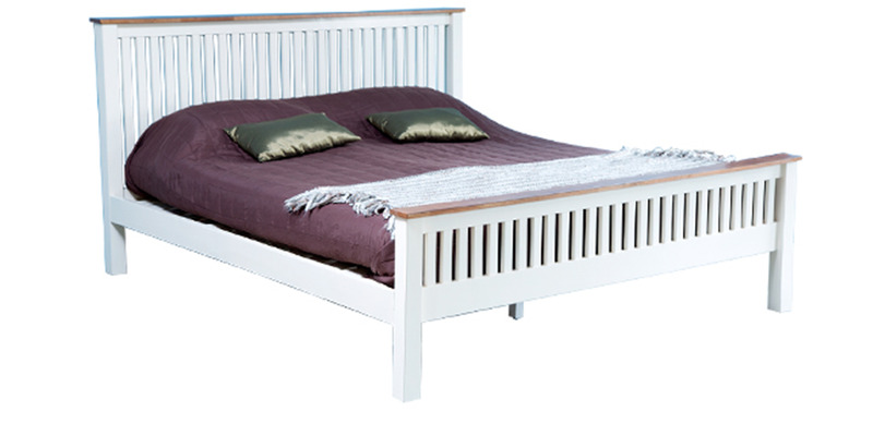 Craig Slatted Two Toned Queen Bed in White Colour by Forzza