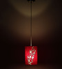 Craftter Cartouche Pattern White & Red Round Hanging Lamp