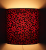 Craftter Flowers Design Red Half Shade Fabric Wall Lamp