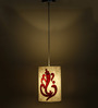 Craftter Ganesha Textured White & Red 0.5W LED Hanging Lamp