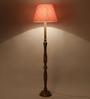 Craftter Traditional Keri Design Orange Color Wooden & fabric Floor Lamp