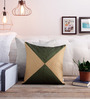 Creative Homez Beige & Green Polyester 16 x 16 Inch Self Design Cushion Cover