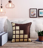 Creative Homez Gold & Brown Polyester 16 x 16 Inch Abstract Cushion Cover