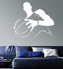 Creative Width Vinyl Basketball Player Wall Sticker in White