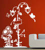 Creative Width Vinyl Birds N the Lamp Post Wall Sticker in White