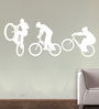 Creative Width Vinyl Cycling Team Wall Sticker in White