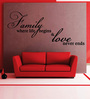 Creative Width Vinyl Family And Love One Wall Sticker in Black