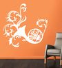 Creative Width Vinyl French Horn Wall Sticker in White