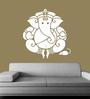 Creative Width Vinyl Ganesha Wall Sticker in White
