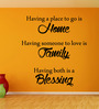 Creative Width Vinyl Home Family Blessing Two Wall Sticker in Black