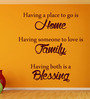 Creative Width Vinyl Home Family Blessing Two Wall Sticker in Burgundy