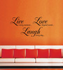 Creative Width Vinyl Live Love Laugh Wall Sticker in Black