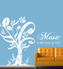Creative Width Vinyl Music Is The Voice Of Soul Wall Sticker in White