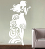 Creative Width Vinyl Rosy Girl Wall Sticker in White