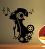 Creative Width Vinyl Singing Girl Wall Sticker in Black