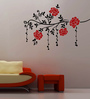 Creative Width Vinyl Vines And Flowers 4 Wall Sticker in Black & Red