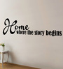 Creative Width Vinyl Where The Story Begins Two Wall Sticker in Black