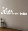 Creative Width Vinyl Where The Story Begins Two Wall Sticker in White