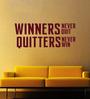 Creative Width Vinyl Winners Never Quit Wall Sticker in Burgundy