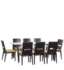 Crescent Eight Seater Dining Set in Dark Chocolate Colour by Godrej Interio