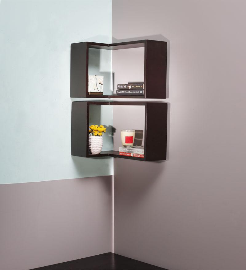 Buy Sanremo Wenge Corner Wall Shelf In Brown By Casacraft