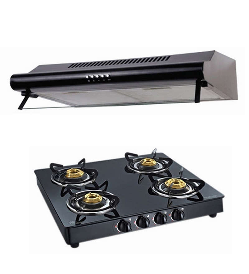 Cubix 1005 60 Cm Straight Line Chimney & 4-Burner Ai Hob Combo  available at Pepperfry for Rs.7749