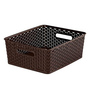Curver 3611 Plastic Brown Rattan Style Kitchen Storage Fruit Basket