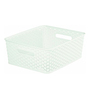 Curver 3611 Plastic White Rattan Style Kitchen Storage Fruit Basket