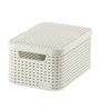 Curver 3617 Plastic Off White Small Storage Box with Lid