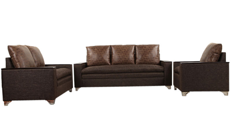 Dalton Sofa Set (3 + 2 + 1) Seater in Brown Colour by ARRA