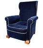 Dark Blue Rich Fabric Wingback chair with Rolled Arms in Blue Colour by Afydecor