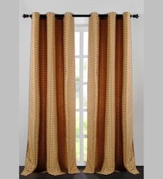 Deco Essential Beige Jacquard Dot Box 90 X 46 Inch Single Panel Door Curtain - Set Of 2