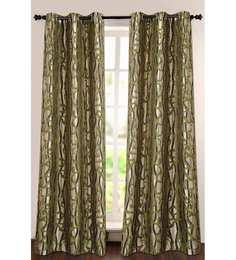Deco Essential Green Polyester 90 INCH Door Curtain - Set of 2