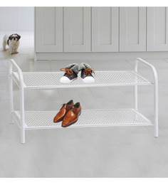 Deneb Steel White 2 Tier Shoe Rack
