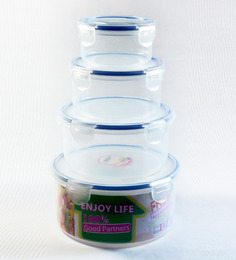 Deseo Transparent Plastic Airtight 4-piece Round Containers - Set of 2