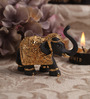 Decardo Grey & Gold Terracotta Mini Elephant Statue