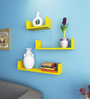 AYMH Yellow MDF U-Shaped Wall Shelf - Set of 3