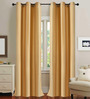 Deco Essential Bright Gold Polyester 46 x 90 Inch Jacquard Eyelet Door Curtain - Set of 2