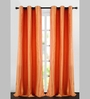 Deco Essential Orange Polyester 90 x 46 Inch Dot Box Door Curtain - Set of 2