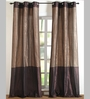 Deco Essential Brown Polyester 84 x 48 Inch Stripe Band Door Curtain - Set of 2