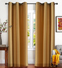 Deco Essential Yellow Polyester 46 x 90 Inch Jacquard Eyelet Door Curtain - Set of 2