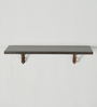 Deco Home Brown Solid Wood & Aluminium Wall Shelf with Antique Copper Brackets