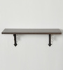 Deco Home Brown Solid Wood & Aluminium Wall Shelf with Black Brackets