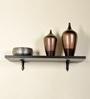 Deco Home Brown Solid Wood & Aluminium Wall Shelf with Black Matt Brackets