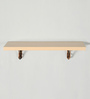 Deco Home Natural Teak Solid Wood & Aluminium Wall Shelf with Antique Copper Brackets