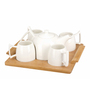 Deco Pride Wood & Ceramic Assorted Teapot with Cups & Tray - Set of 6