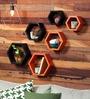 AYMH Black & Orange MDF Hexagon Wall Shelf - Set of 6
