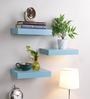 AYMH Blue MDF Floating Wall Shelf - Set of 3